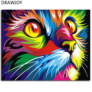 DKF4S Abstract Framed Oil Paint DIY Painting By Numbers Coloring By Numbers Colorful Animals Home Decoration 40*50cm GX4228