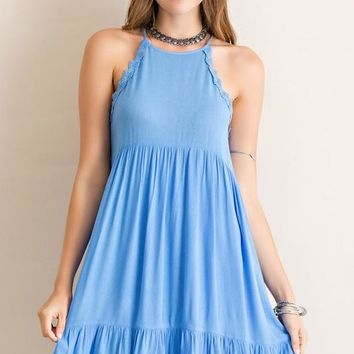 Blue Lace Trim Halter Ruffle Dress