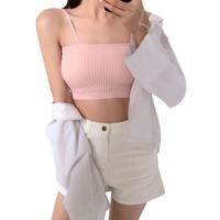 Summer Sexy Women Kintting Cropped Tube Tops Intimate Sleeveless Off Shoulder Strapless Ladies Cotton Black Bandeau Top