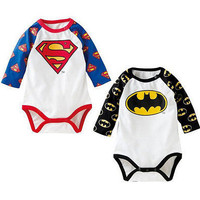 Newborn Toddler Infant Baby Boys Girls Long sleeve superman Rompers Clothes Outfits