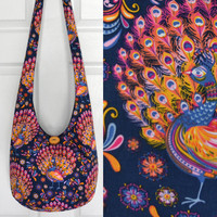 Hobo Bag Crossbody Bag Sling Bag Hippie Purse Hobo Purse Boho Bag Bohemian Purse Fabric Purse Handmade Purse Peacocks Floral Boho Purse Hobo