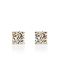 River Island Womens Gold tone rhinestone cluster stud earrings