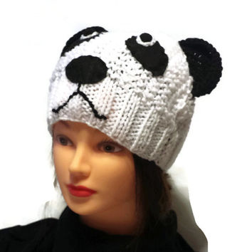Panda hat, animal cap, knitted panda, teen photo prop, crochet bear hat, preteen fashion, panda beanie, adult, teen, any size