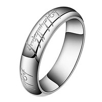INTIONIX SHOP Fashion Titanium Steel With Lord of the Ring Design Laser Engraving Ring Necklace