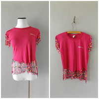 Beaded Hawaii T Shirt Vintage 80s Hot Pink Fringed Ladies Tee M/L Medium Large Hipster Hippie Fringe T-shirt 1980s Summer Festival Top Hippy