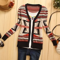A 080501 V-neck women knit geometry collision color