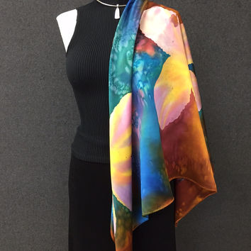 Alive in the Tropics - Hand Painted Silk Scarf / Wrap