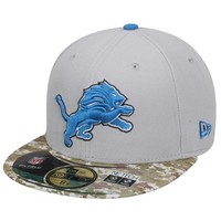 New Era Detroit Lions Salute To Service On-Field 59FIFTY Fitted Performance Hat - White/Digital Camo