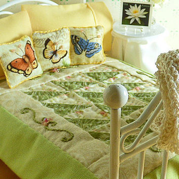 Miniature 1:12 Scale Green Floral Handmade Dollhouse Quilt, Matching Decorator Pillows, Apricot Peach Sheet Set,Bed Pillows,Crocheted Afghan