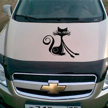 Car Hood Vinyl Decal Graphics Stickers Art Mural Animals Pets Cat Pussycat KJ76