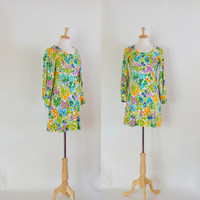 60s Dress / Mod Mini Dress / Floral Mini Dress / 60s Mod Dress