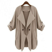 Roll Up Sleeve V-Neck Collar Single Buttoned Jacket