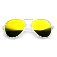 Transparent Retro Party Flash Mirror Lens Aviator Sunglasses 9477