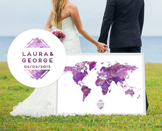 Wedding guest book watercolor world map from macanaz shop my wedding map guest book alternative print custom guestbook poster print guest sign in arches cotton gumiabroncs Images