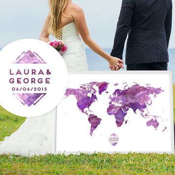Wedding Map guest book alternative print custom guestbook poster print guest sign in - Arches Cotton Paper - Plush Color