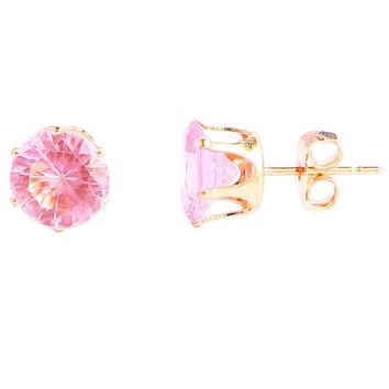 Pink Purple Rose Red Yellow Square Heart Triangle Round Crystal Stud Earrings for Women