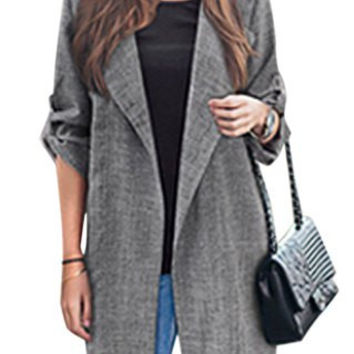 Turn-Down Collar Long Sleeve Loose-Fitting Trench Coat