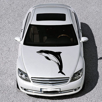 ANIMAL DOLPHIN CUTE FISH DESIGN HOOD CAR VINYL STICKER DECALS ART MURAL SV1575