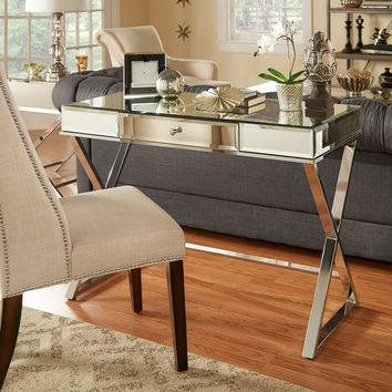 Omni X-base Mirrored Top 1-drawer Campaign Desk by INSPIRE Q | Overstock.com Shopping - The Best Deals on Desks