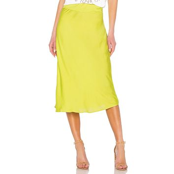 Free People Normani Bias Skirt Lime