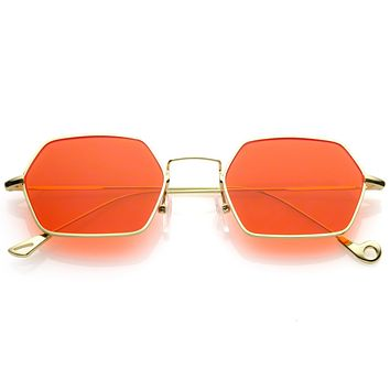 7b6b9cad5280c Retro Small Hexagon Colored Flat Lens Metal Frame Sunglasses C47
