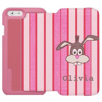Custom Name Easter Bunny on Pink Stripe Pattern iPhone 6/6s Wallet Case