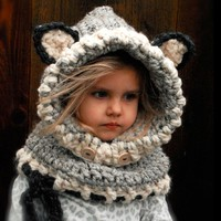 Warm and Cozy Crochet Hooded Cat Cap Scarf
