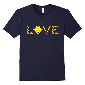 Softball Shirts For Girls Cute Softball Love T-Shirt Funny