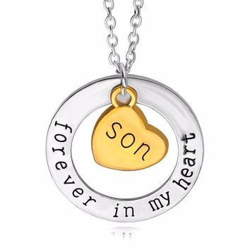 """Forever In My Heart"" Hand Stamped Charm Necklace [4 variations]"