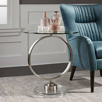 """Dixon 23 3/4"""" Wide Nickel and Clear Glass Top Accent Table - #32V59 