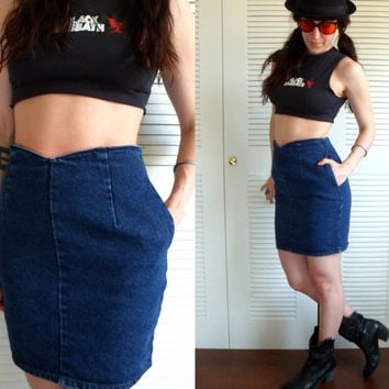 90's Calvin Klein High Waisted Denim Skirt Size 8 Made In USA