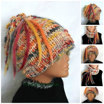 Women's Slouchy Beanie Hat Tube Scarf  Bohemian Headband Turban Hair Wrap Wide Slouch Hats Oversized Neck Warmer Colorful