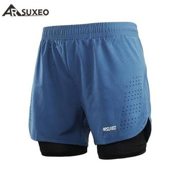 ARSUXEO Mens Sports 2 in 1 Running Shorts Active Training Exercise Running New Men's Short Homme Sporting Shorts Men Gym Short