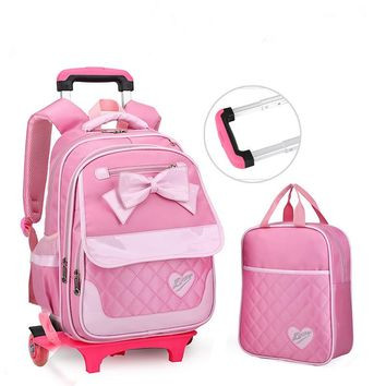2 Wheels Children School bags Primary student trolley backpack Girls rolling luggage travel bag on wheels Bagpack Women Bolsas