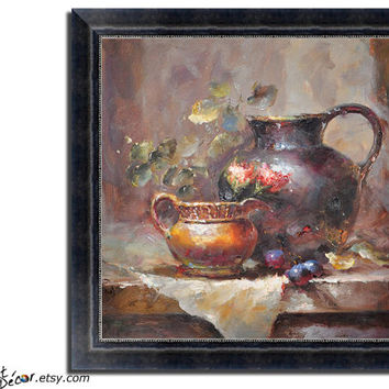 Still Life Oil Painting, Classical Art, Impressionist Art, Deep Textured, Dinning Room Art, Kitchen Art.