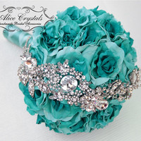 Brooch bouquet, mint Jeweled Bouquet.