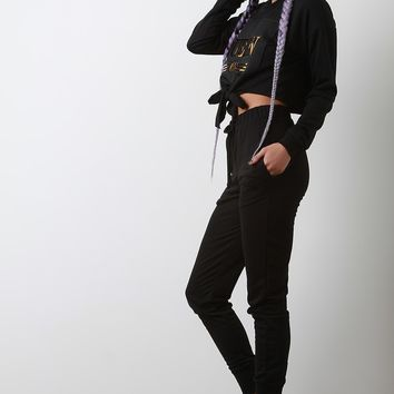 Queen Knotted Crop Top With High Waisted Pants Set