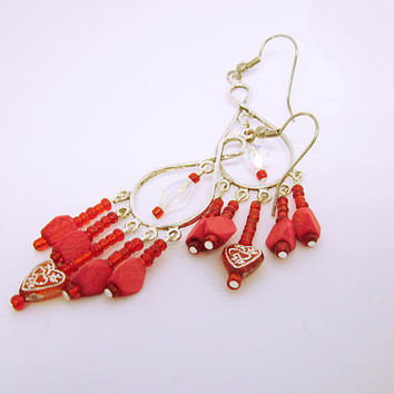CHANDELIER EARRINGS Long Red Chandelier Earrings Silver Plated Chandelier Frames Red Heart Bead Red Wood And Glass Beads Gift Ideas For Her