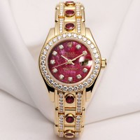 Rare Factory Rolex Lady DateJust Pearlmaster 18K Yellow Gold Rubellite Diamon...