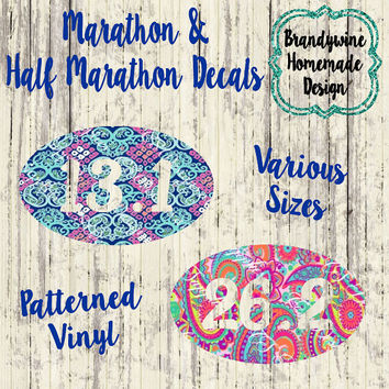 Marathon Decal, Half Marathon Decal, Lilly Pulitzer Inspired Decal, 13.1 Decal, 26.2 Decal, Laptop Decal, Car Decal, Water Bottle Decal