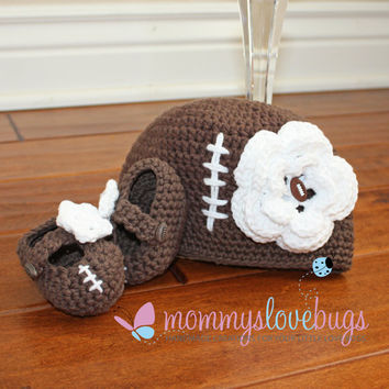 Touchdown Football Baby Girls Beanie and Booties Set - Newborn through 24 Month Sizes Available