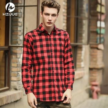 HZIJUE Hip Hop Scottish Plaid Long Sleeve Flannel shirt Men Dance  Shirt Golden Side Zipper Oversize Plaid Lengthen Shirt