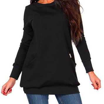 Long Sleeve Pocket Design Sweatshirt