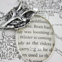 Game of Thrones 'Winter Is Coming' Bran Stark Book Page Necklace