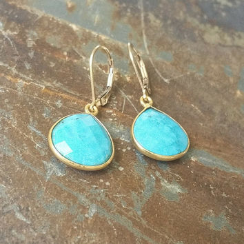 Gold Turquoise Earrings, Gold Turquoise Dangles, Gold Turquoise Dangle Earrings, Turquoise Earrings, Turquoise Dangles, Turquoise