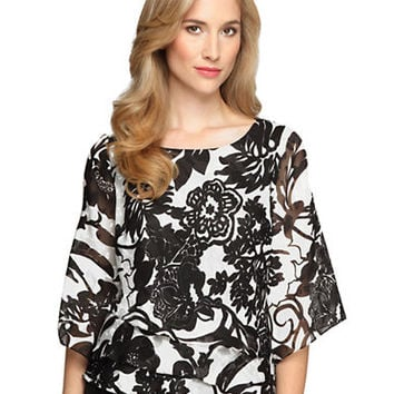 Alex Evenings Plus Floral Print Chiffon Asymmetrical Tier Blouse