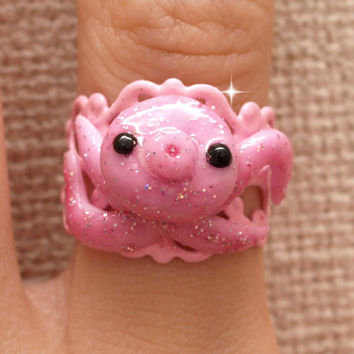 Octopus, ring, kawaii ring, kitsch, cute ring, squid, handmade ring, polymer clay, sweet lolita, lolita accessory, Harajuku, Japanese,