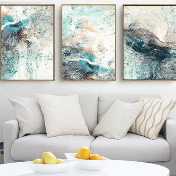 Modern Simplicity of Abstract 3 Pieces Canvas Paintings Modular Pictures Wall Art Canvas for Living Room Decoration No Framed