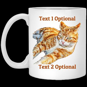 Personalize Your own Orange Tabby Mug, Cat Coffee Mug With Comfort Grip Handle