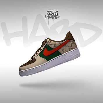 gucci red check  - air force one custom